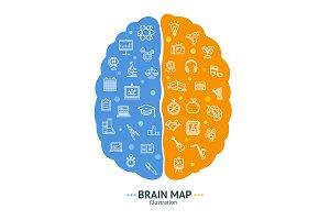 Human Brain Map Concept
