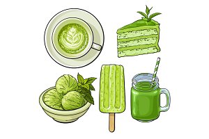 Hand drawn food with matcha tea - ice cream, cake, drinks