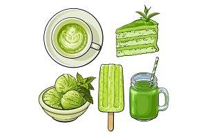 Hand drawn food with matcha tea - ice cream, cake, drinks