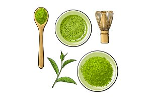 Matcha powder bowl, wooden spoon and whisk, green tea leaf