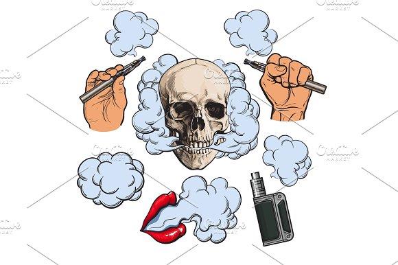 Vaping Related Elements Symbols Smoking Skull And Lips Vaporizer E-cigarette