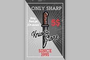Color vintage knives store banner