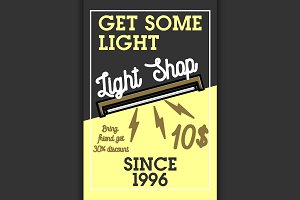 Color vintage light shop banner