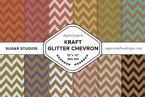Kraft Glitter Chevron Backgrounds