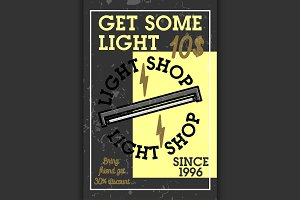 Color vintage light shop banner
