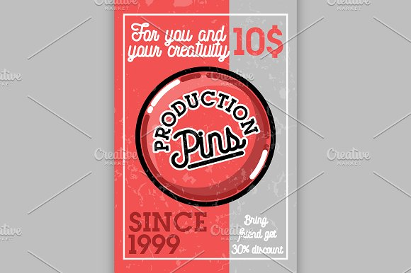 Color Vintage Pins Production Banner
