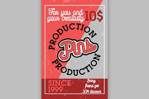 Color vintage pins production banner