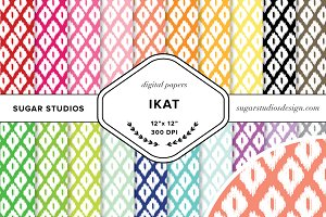 Ikat Digital Background Paper Set