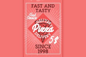Color vintage pizza delivery banner