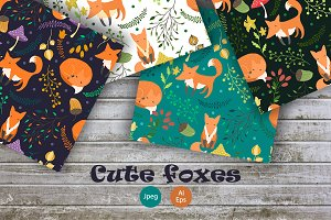 Cute foxes. Seamless patterns