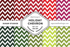 Christmas Chevron Digital Background