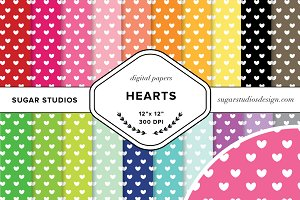 Hearts Digital Background Papers
