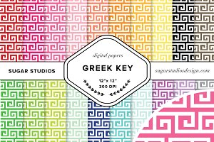 Greek Key Digital Background Papers