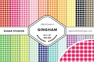 Gingham Digital Background Papers