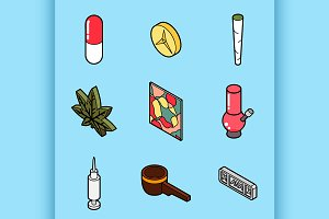 Drugs flat outline isometric icons