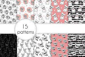 15 patterns with cute dogs!