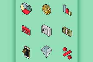 Finance flat outline isometric set