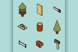 lumberjack isometric set