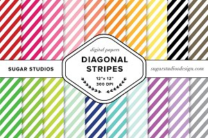 Diagonal Stripe Digital Backgrounds