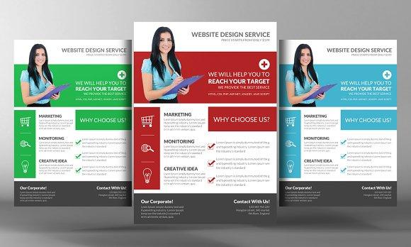 Flat Style Web Agency Flyer Template Flyer Templates on Creative – Web Flyer Template