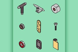 Skateboard spare parts icons
