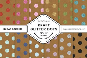 Kraft Glitter Dots Background Set