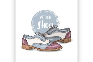 Fashion vector color womens shoes.