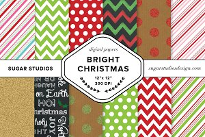 Bright Christmas Digital Backgrounds