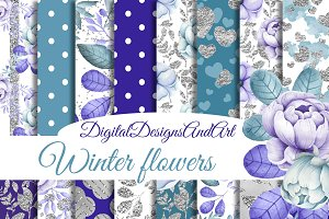 Winter flower glitter paper