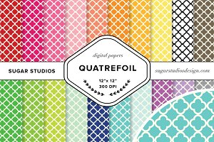Quatrefoil Digital Background Set