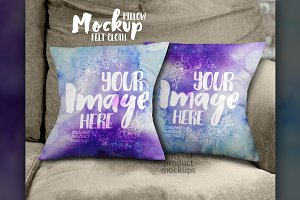 Cloth throw pillow set mockup