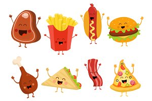 Cute Fast Food Character Set