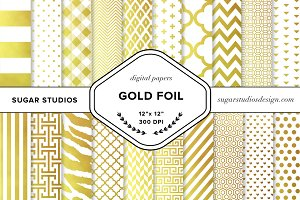 Gold Foil Pattern Digital Background