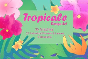 Tropical Foliage Graphics Set