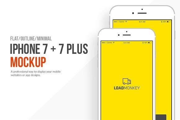 Free Flat iPhone 7 and 7 Plus Mockup PSD