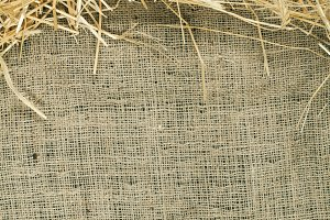Straw and hay on burlap