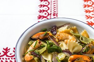 Italian colored pasta with seafood