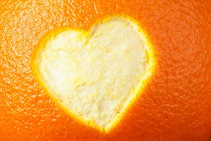 Heart shape carved in orange peel