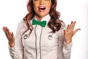 Girl wearing glasses and bow tie.
