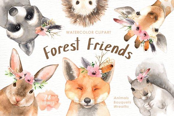 Forest Friends Watercolor Clip Art