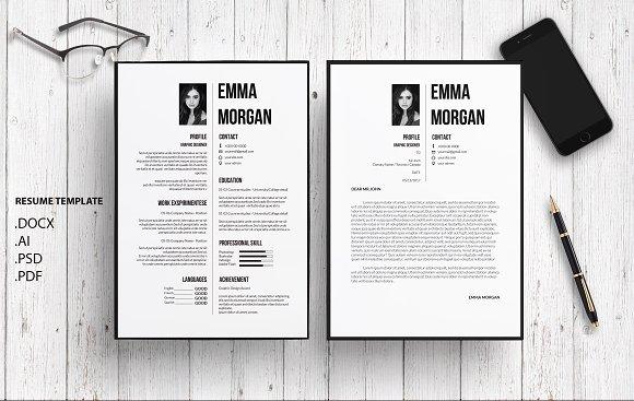 Black White CV Resume Template M