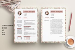 Vintage Floral CV /Resume Template M