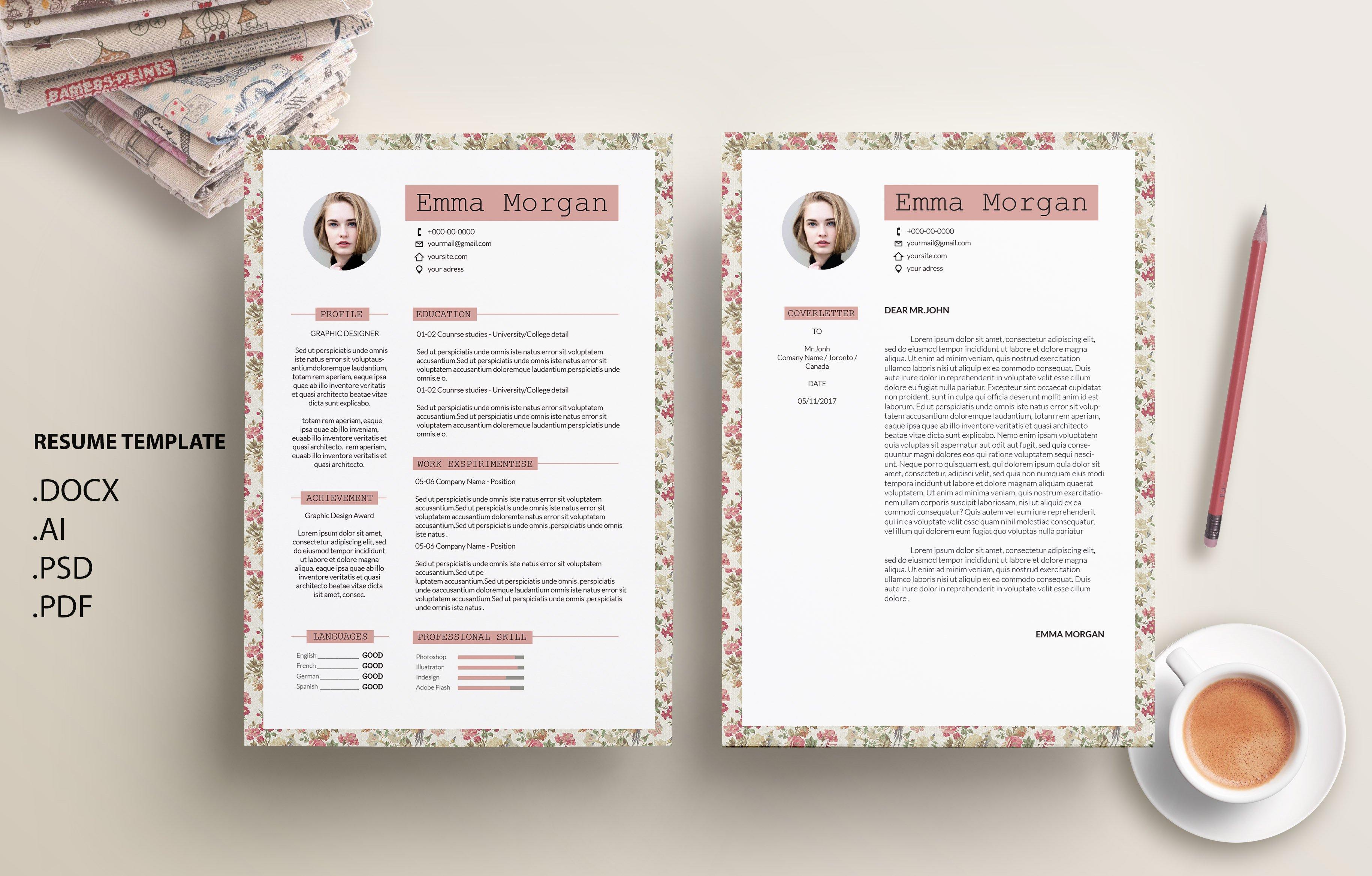 flower cv resume template m resume templates creative market