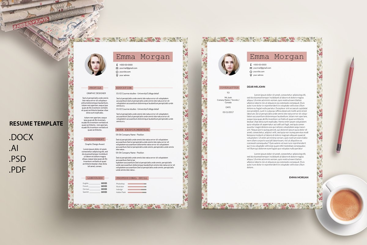 Vintage Floral CV Resume Template M Templates Creative