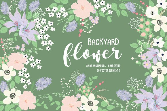 Backyard Flower Set With Elements