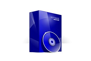 Glossy blue box with Disk