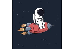 Cute astronaut sits on rocket