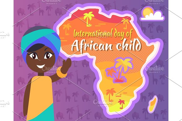 International African Child Day Postcard With Gril