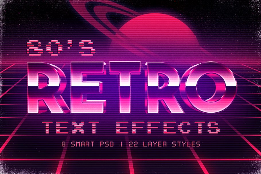 80's inspired Photoshop text effects ~ Photoshop Add-Ons