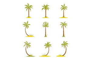 Set of colored palms in a flat style.
